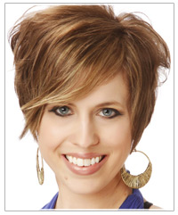 Short brown hair with light brown highlights